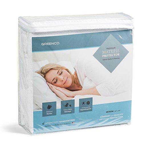 Waterproof Vinyl Pull (Greenco Premium Hypoallergenic Waterproof Mattress Protector - Vinyl Free (Queen))