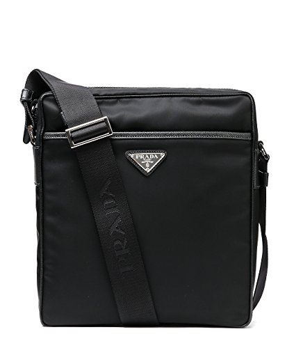 Wiberlux Prada Men's Triangle Logo Detail Zip-Top Crossbody Bag One Size Black