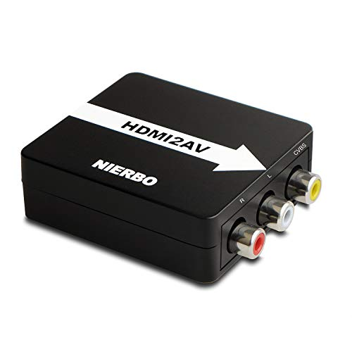 NIERBO HDMI a AV RCA Adaptador con un Adaptador de Corriente, Conversor de señal Compatible HDMI, AV/RCA al Convertidor de...