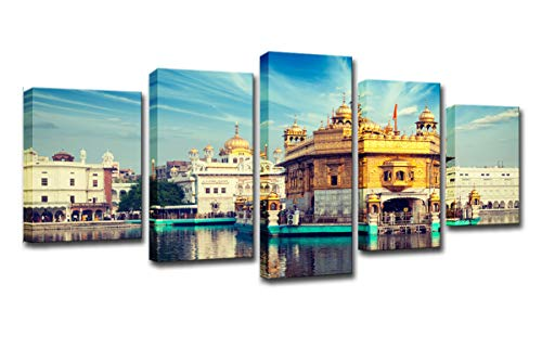 (WINSEN Canvas Posters Living Room Framework HD Prints Pictures Home Decor 5 Pieces Blue Sky Golden Temple Landscape Paintings Wall Art)