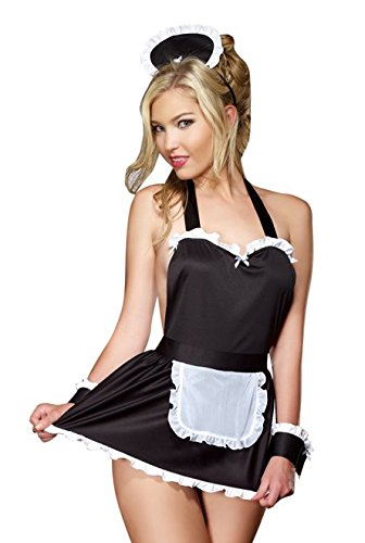 Dreamgirl Women's Maid Me Dirty Babydoll, Black/White, One Size (Best Halloween Stores Nyc)