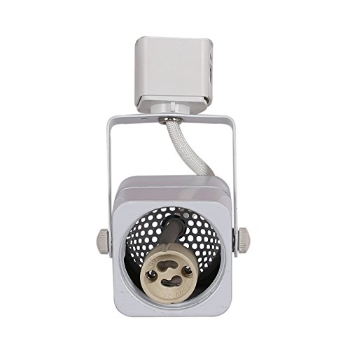 Three Head Track - KING SHA Square White GU10 Line Voltage Track Lighting Head (BULB NOT INCLUDED) compatible H type 3-wire single circuit track systems ETL-Listed