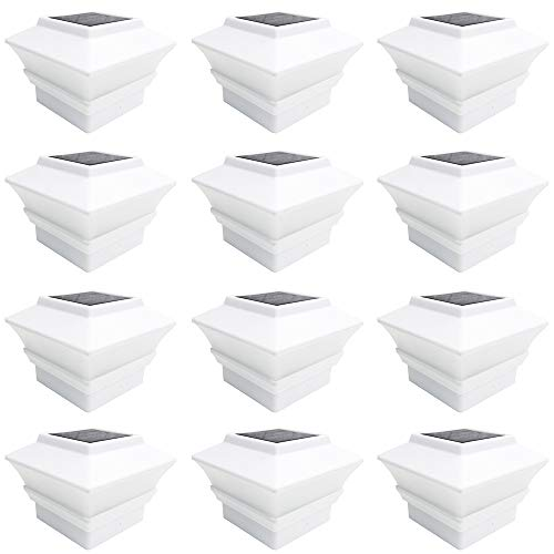 iGlow 12 Pack White Outdoor Garden 4 x 4 Solar LED Post Deck Cap Square Fence Light Landscape Lamp PVC Vinyl Plastic ()