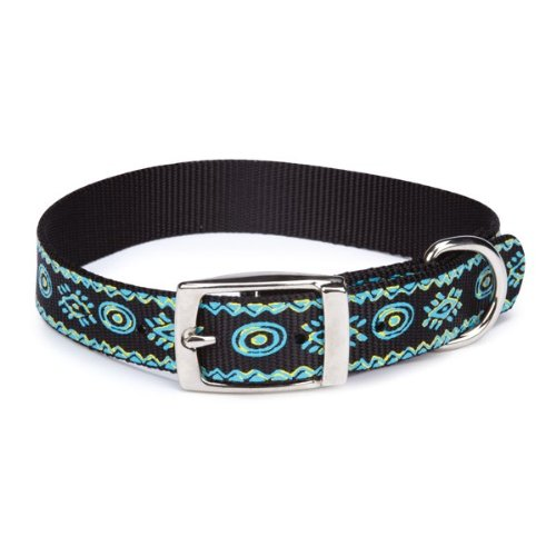 Casual Canine Nylon Artisan Print Dog Collar, 8-11-Inch, Bluebird