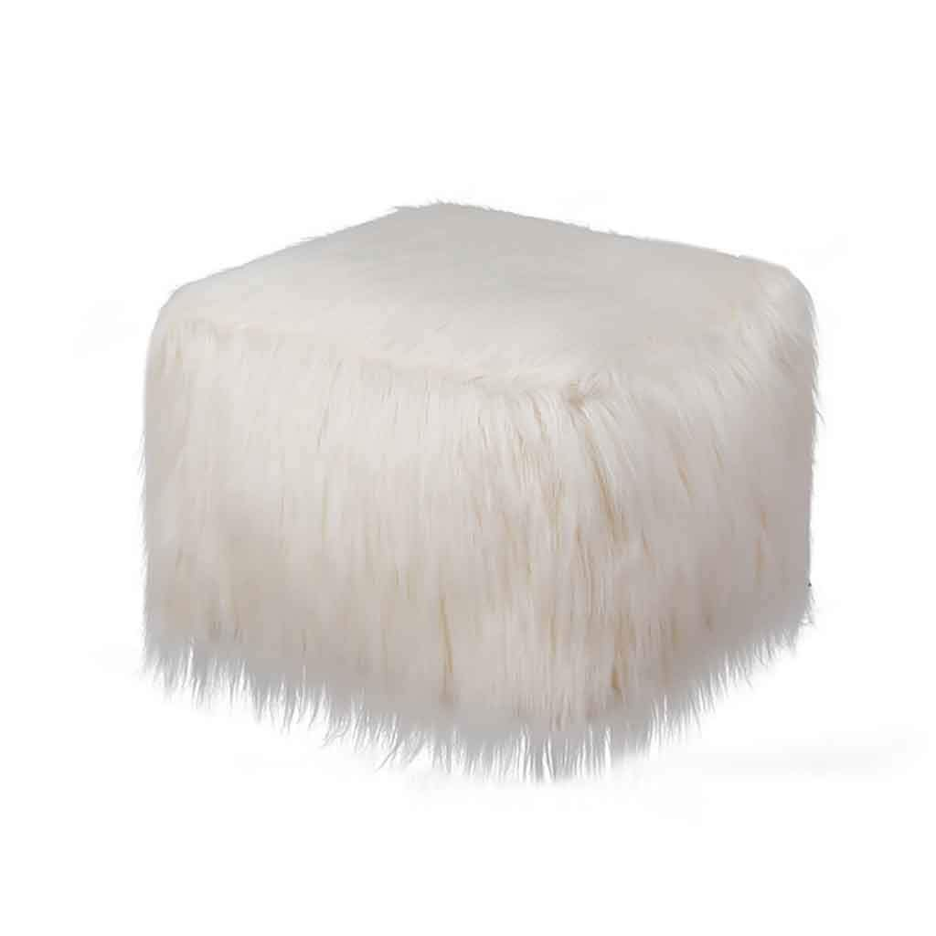 Faux Fur Sheepskin Silky Seat Cushion + Inflatable Square Stool + Pump Set, Soft Fuffly Plush Chair Seat Pads Portable Sofa Stool Futon Footstool Foot Rest Stool Mat Area Rugs Carpet (Yellow) by FunDiscount Shop