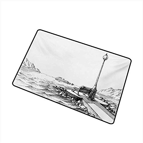Becky W Carr Sketchy Welcome Door mat Bench and Lantern in The Middle of  Ocean Waves Mountains Rocks Artistic Monochrome Door mat is odorless and