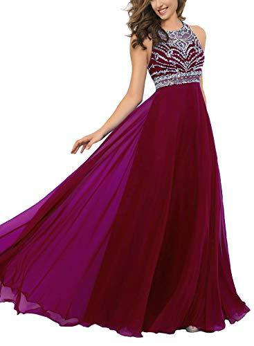 Pearldress Long Chiffon Beading Evening Dress Keyhole Back Prom Dress Burgundy