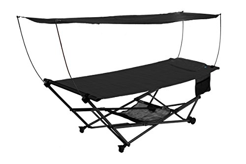 Bliss Hammock Stand (Bliss Hammocks Stow EZ Hammock & Collapsible Stand W/ Pillow & Canopy W/ Magazine & Cup Holder, Black)