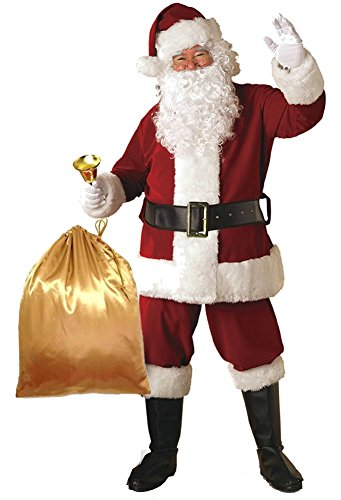 Plush Santa Claus Suit Adult Costumes (ilishop Men's Deluxe Santa Suit 10pc. Christmas Adult Santa Claus Costume Red XL)