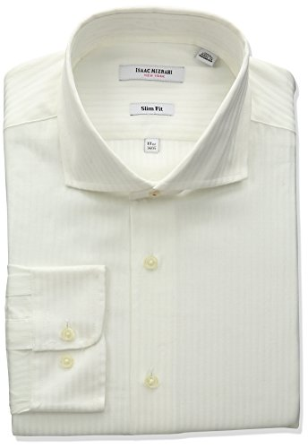 Mens Cutaway Collar Shirt - Isaac Mizrahi Men's Slim Fit Satin Stripe Cut Away Collar Dress Shirt, White, 15