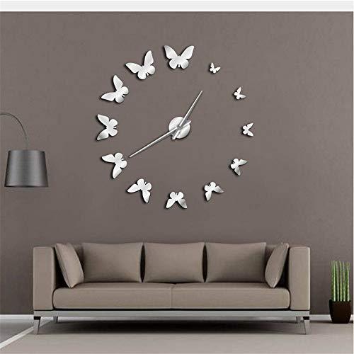 Shuangklei Decorative Mirror Wall Clock Flying Butterflies Modern DIY Large Wall Clock Frameless Watch ,Silver -