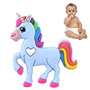 Baby Teething Toy, Bestwin Bendable & Freezer friendly Unicorn Teethers, Soft Silicone, BPA-Free, Natural Organic Infant Toys (Blue)