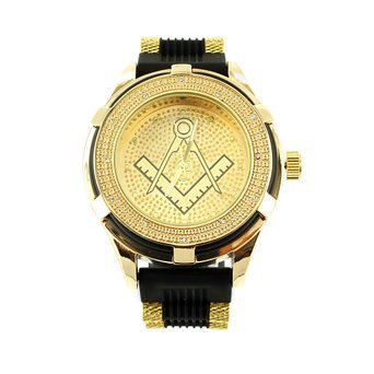 Mens Unique Yellow Gold Finish Joe Rodeo Jojo Masonic Steel Back Yellow Watch