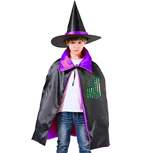 Wodehous Adonis Green Irish American Flag Kids Halloween Costume Cape Witches Cloak Wizard Hat Set