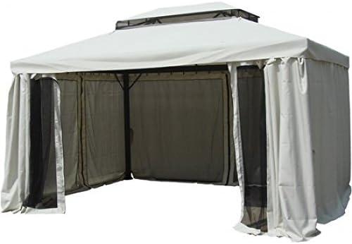 Cenador-carpa de 3 x 4 metros en aluminio con cortinas y mosquitera: Amazon.es: Jardín