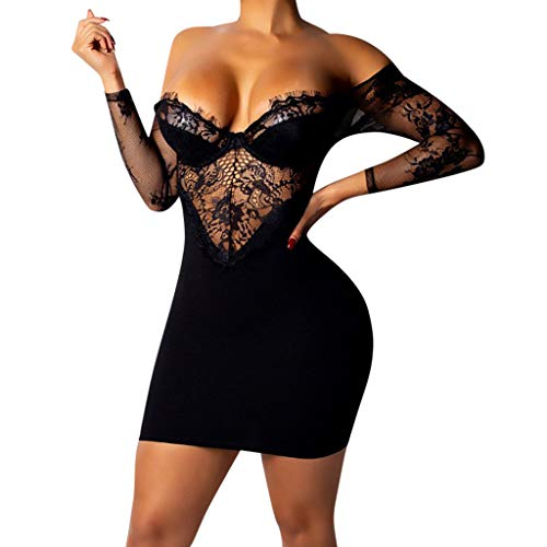 - ℱLOVESOOℱ Women's Sexy Cold Shoulder V Neck Lace Bodycon Club Mini Dress Strapless Long Sleeve Backless Party Dress Black