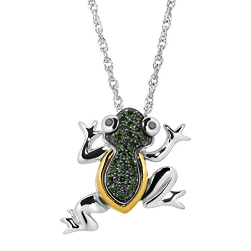 1/10 ct Green & Black Diamond Frog Pendant Necklace in Sterling Silver & 14K Gold