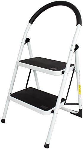Escalera plegable de acero resistente con 2 peldaños y superficie antideslizante EN131: Amazon.es: Bricolaje y herramientas