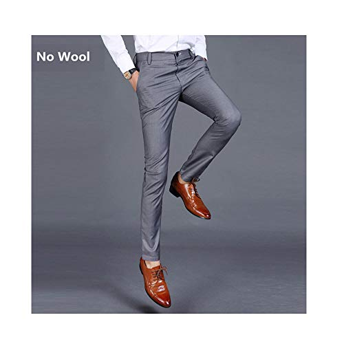 ZFADDS New Cotton Men Pure Color Formal Business Suit Pants Male Leisure  Suit Pants Trousers Gray 29