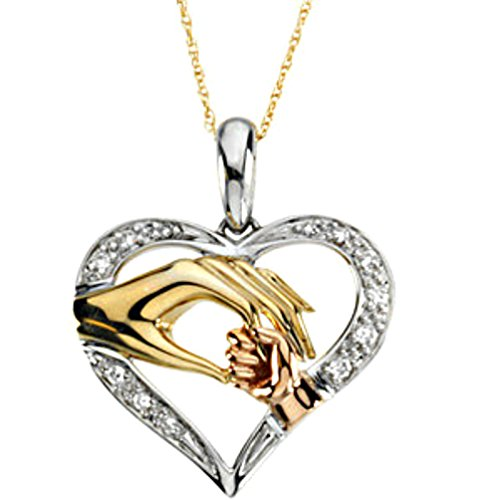 14k Tri-Gold Diamond Heart 'Tender Touch' Mother and Child Necklace 18'' by The Men's Jewelry Store (for HER)