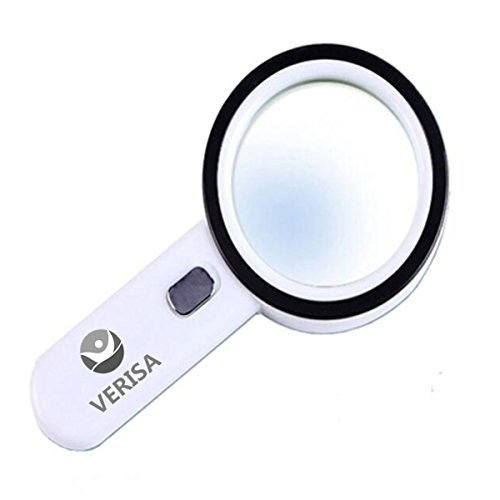 The Wolf Moon® Handheld 20x Magnifying Glass - Lens with 12 Leds - Lightweight Durable ABS Frame - Scratch Resist Clear Lens Loupe –Ideal for Reading, Crafts, Needlework, Jewelry, Hobbies