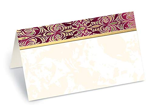 PaperDirect Purple Damask Marquetry Folded Place Cards, 100 Count