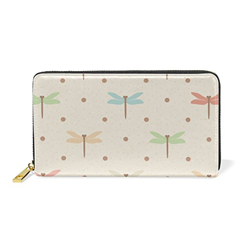 Color Dragonflies Beige Zip And Purses Clutch Wallet Dots Organizer Around Colorful Womens Handbags TIZORAX CIqw55