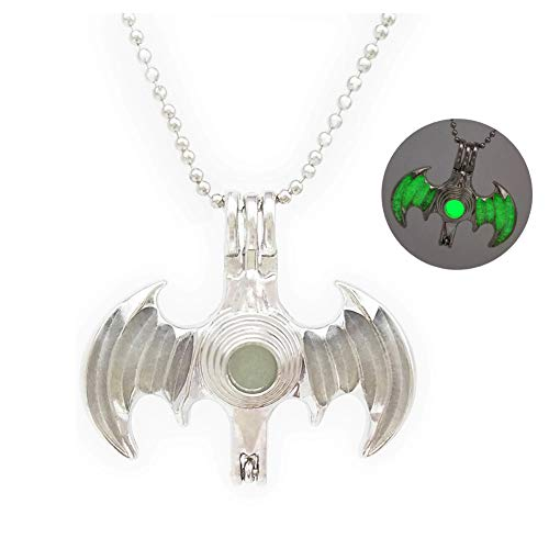Fashion Glowing Bat Style Luminous Beads Pendant Necklace Alloy Jewelry Green Light 18 Inches Chain for Christmas New Year Holiday Souvenir Gifts Charms ()