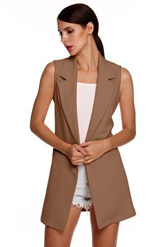 Meaneor Women's Oversized Open Longline Sleeveless Duster Blazer Jacket Coat (XXL, Khaki)