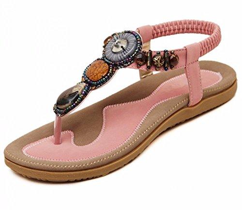 Sandalias de Shoes Verano Solapa D Cuentas con Bohemia Las Sandalias Slip de Mujeres cuña Abierta Beach YMFIE Punta Piso de de de 8Wwzq0qvxR