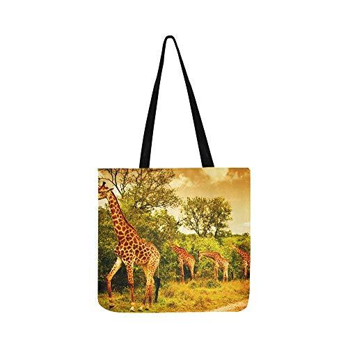 Image Of A South African Giraffes Big Family Graz Canvas Tote Handbag Shoulder Bag Crossbody Bags Purses For Men And Women Shopping Tote (Partridge Bag Shopping Family)