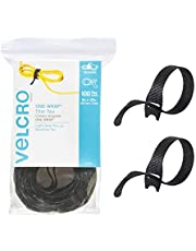 VELCRO Brand ONE WRAP Thin Ties | Strong & Reusable | Perfect for Fastening Wires & Organizing Cords | Black, 8 x 1/2-Inch | 100 Count