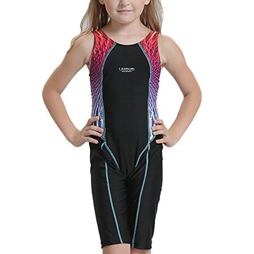 maillot de bain fille 1 piece Maillot de bain pour enfants des gamins sport Mi-longueur de 2 à 13 ans