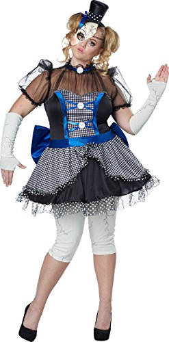 Scary Doll Halloween Costumes Ideas (California Costumes Women's Plus Size Twisted Baby Doll Adult, Blue/Black, 1X)
