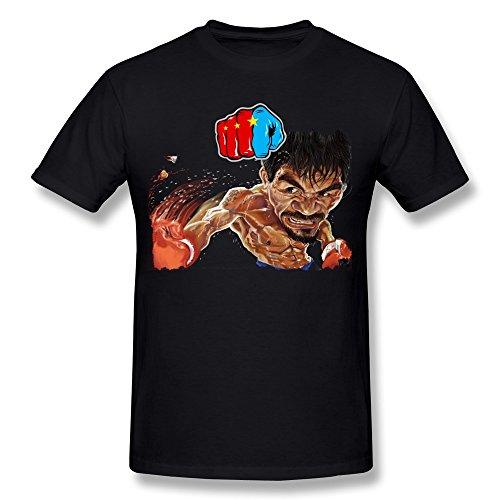 ZHONGGONG Men's Cool Manny Pacquiao T-shirt S Black