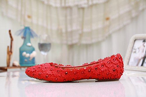 wedding MZLL030 confortevole party satin Red Flowers nbsp;donna ballerine Prom Evening Minitoo moda Handmade q4gYT
