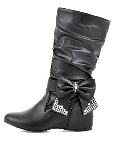 Pull Slouch Bowknot 2 Riding Boots Ladies on Rhinestone Boots HiTime Black Size Girls Waterproof Ruffle Removable 12 wI14nqzA