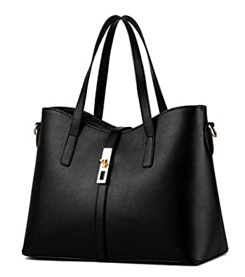 Tibes Luxury Pu Leather Handbag Purse College Women Tote Bag Black