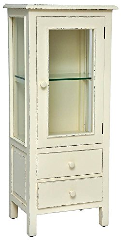 Curio Cabinet in Light Distressed Linen Finish