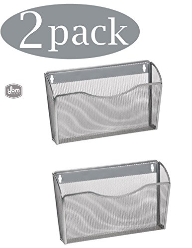 Ybm Home Single Pocket Office Mesh Collection Wall Mount Hanging File Holder Organizer Vertical Wall File Rack For School Home or Office 2446-2 (Silver, 2 (Hang File)