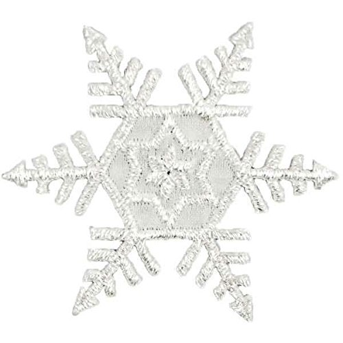 (Expo International Christmas Large Six Point Snowflake Iron-on Applique Trim Embellishment, Silver)
