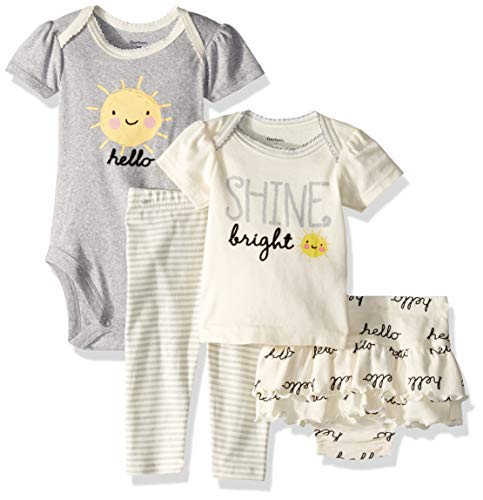 Gerber Baby Girls 4-Piece Shirt, Bodysuit, Pant and Skirted Ruffle Panty, Sunshine Hello, 6-9 Months