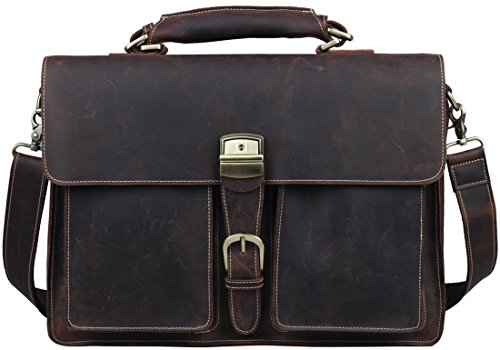 "Iswee Crazy Horse Cowhide Genuine Leather Flap Briefcase, 14"" in Laptop Bag Messenger Handbag (Deep Brown) by Iswee"