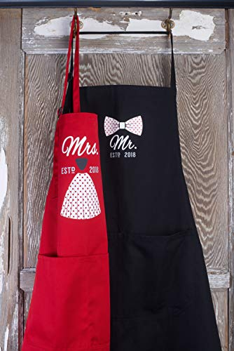 Mr Mrs Anniversary Apron Gift - Year 2018 - Man and Women 2 Piece Set - Perfect for engagements, weddings, happy anniversaries, bridal showers, valentines day by 2MU by 2MU (Image #4)
