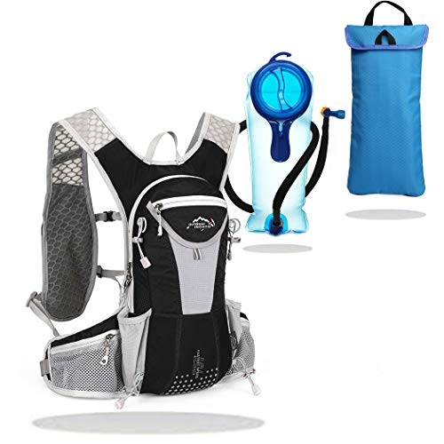 IBTXO Hydration Pack Backpack 12L Outdoors Marathoner Running Race Hydration Vest with Water Bladder for Hiking Skiing Running Cycling Camping Fits Men and Women (Black-Set 3in1)