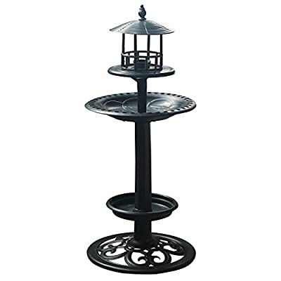 "Amazing Plastic Birdbath Bird Feeder with Planter for Garden Lawn or Balcony 23.5"" Height (Dark Green)"
