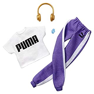 Barbie Clothes Puma Outfit Doll, White Top and Purple Joggers with Headphones and Watch, Gift for 3 to 8 Year Olds