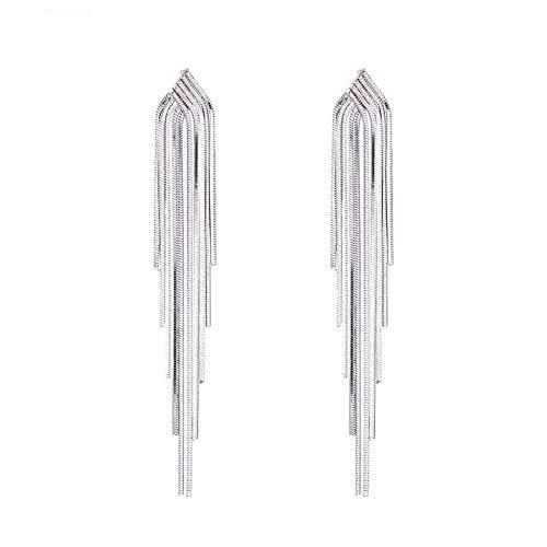 VDX Drop 925 Sterling Silver Tassel Earrings for Women Dangle Hypoallergenic Jewelry Earrings for Ladies