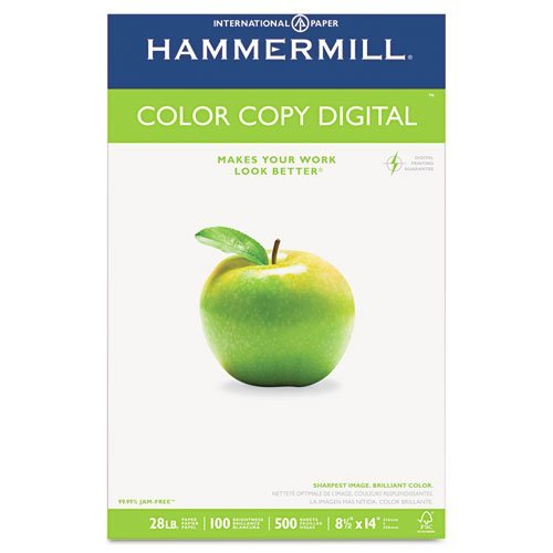(Color Copy Paper, 100 Brightness, 28lb, 8-1/2 x 14, Photo White, 500/Ream, Sold as 1 Ream by Hammermill)