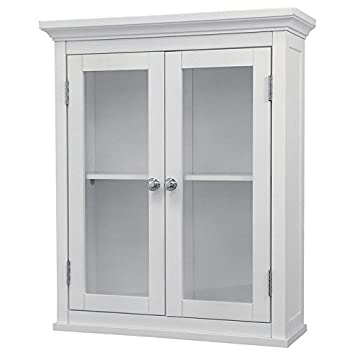 Bathroom Wall Cabinet White For Mounted Wood Cabinets With Doors Glass  Front Storage Medicine Bath Wall